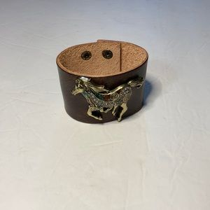 Brown Leather Boutique Cuff Horse Bling Bracelet